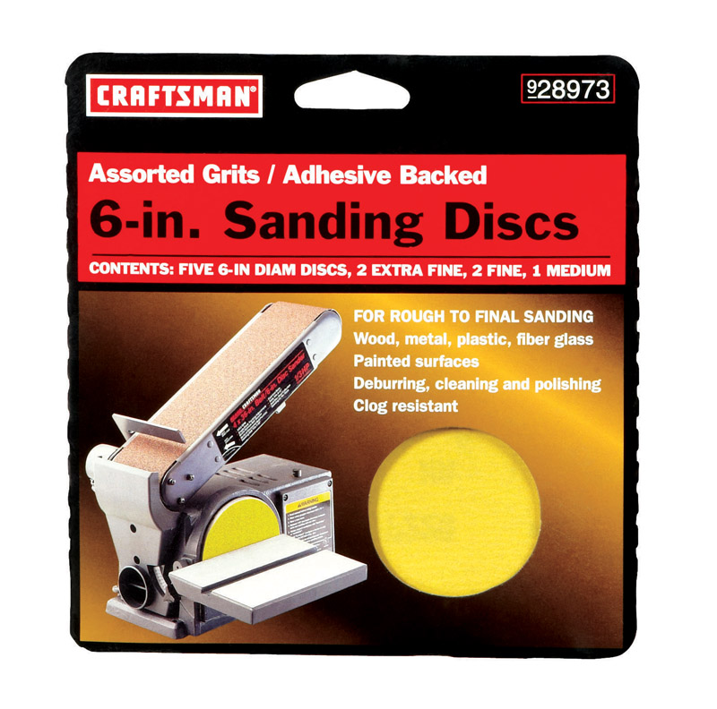 Craftsman  Carbide  Adhesive  6 in. Assorted  5 pk Sanding Disc