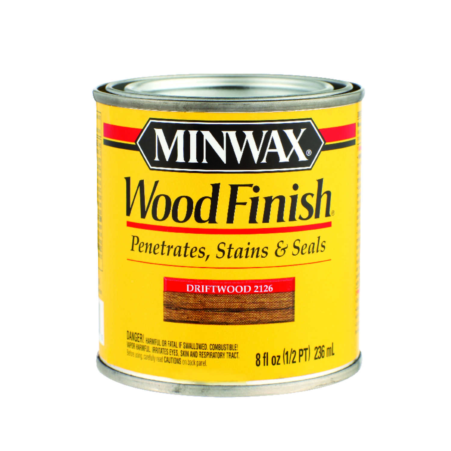 Minwax  Wood Finish  Semi-Transparent  Driftwood  Oil-Based  Wood Stain  0.5 pt.