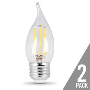 FEIT Electric  CA10  E26 (Medium)  LED Bulb  Soft White  25 Watt Equivalence 2 pk