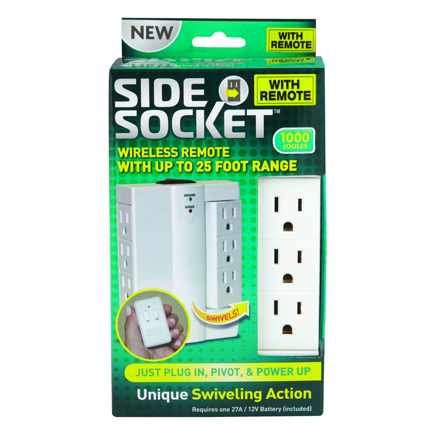 Side Socket Polarized 6 outlets Outlet Extender Surge Protection 1 ...