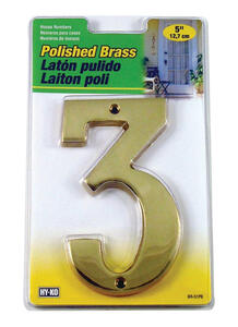 Hy-Ko  5 in. Gold  Brass  Number  3  Nail-On  1 pc.