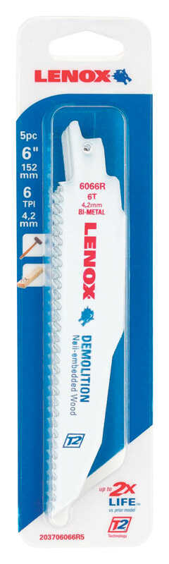 Lenox  6 in. Bi-Metal  Reciprocating Saw Blade  6 TPI 5 pk