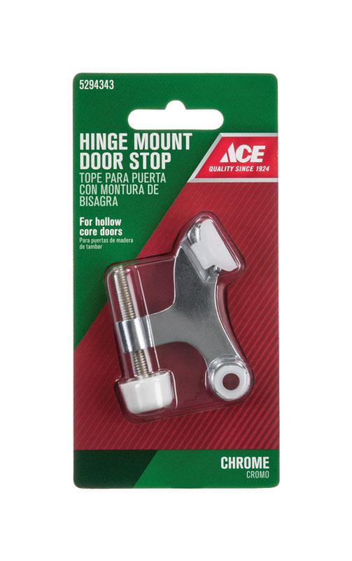H Chrome Hinge Pin Door Stop Mounts To Door Metal Silver