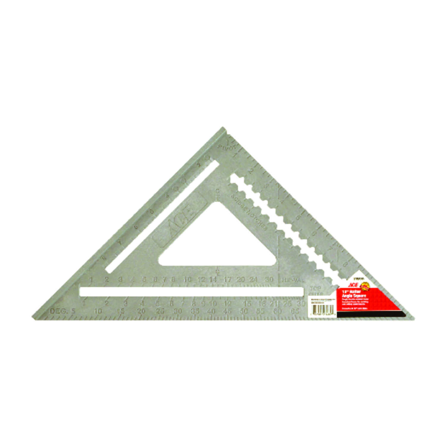 Ace  12 in. L x 17 in. H ABS Plastic  Rafter Square  Gray