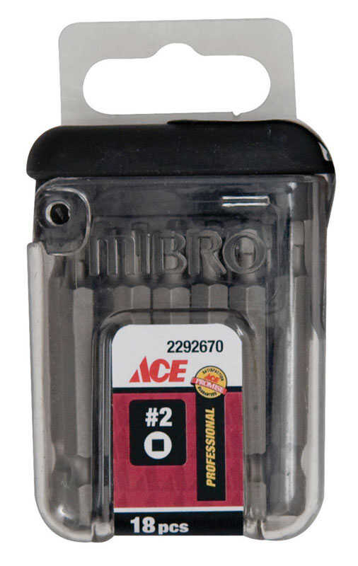 Ace  Square Recess  2 in. L x #2 in.  1/4 in. Screwdriver Bit  S2 Tool Steel  Quick-Change Hex Shank