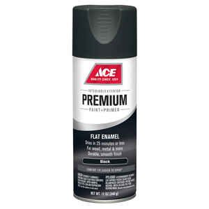Ace  Premium  Flat  Black  Enamel Spray Paint  12 oz.