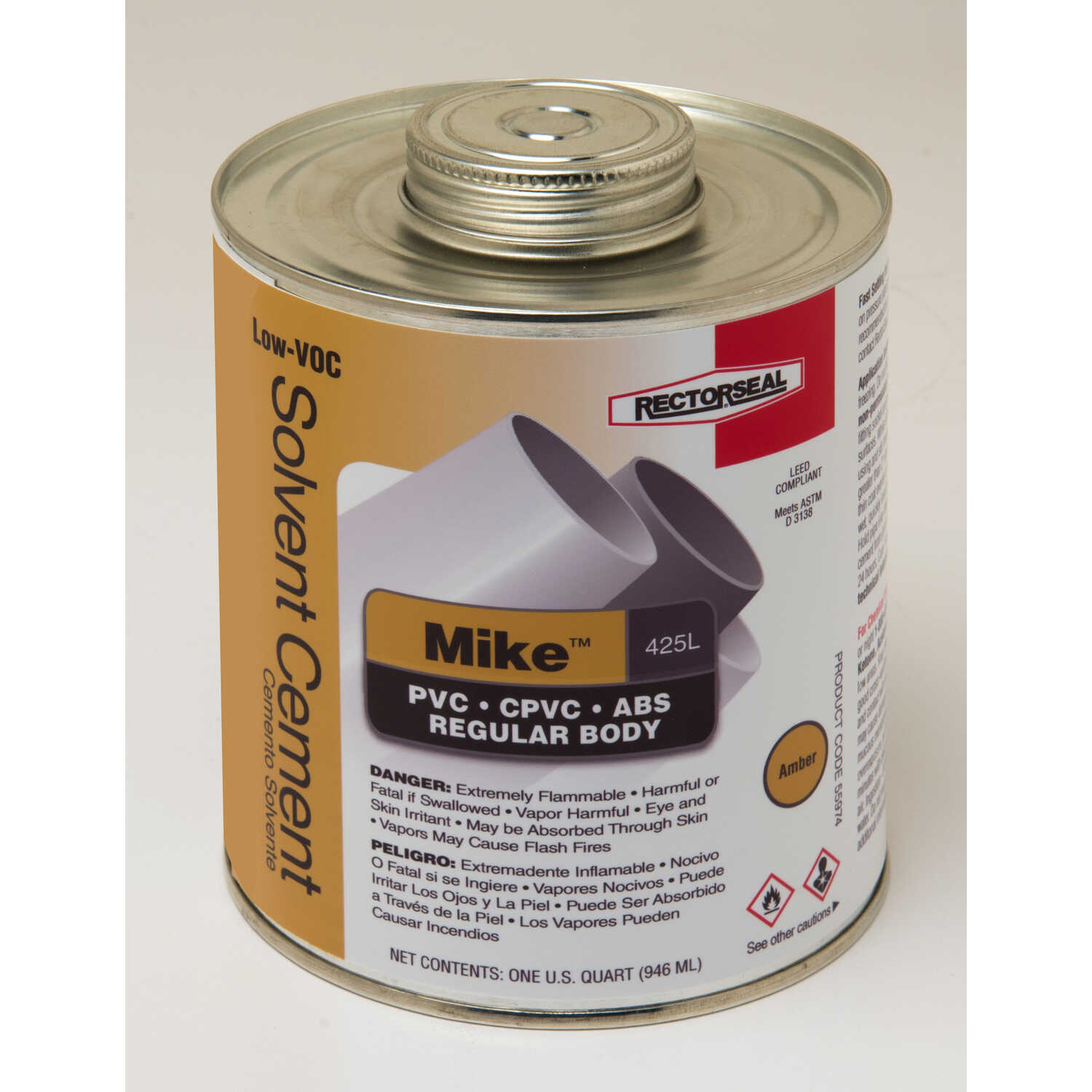 Rectorseal  Mike  Amber  Multi-Purpose Solvent Cement  For ABS/CPVC/PVC 32 oz.