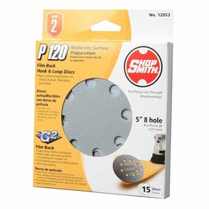Shopsmith  5 in. Aluminum Oxide  Hook and Loop  Sanding Disc  120 Grit Medium  15 pk