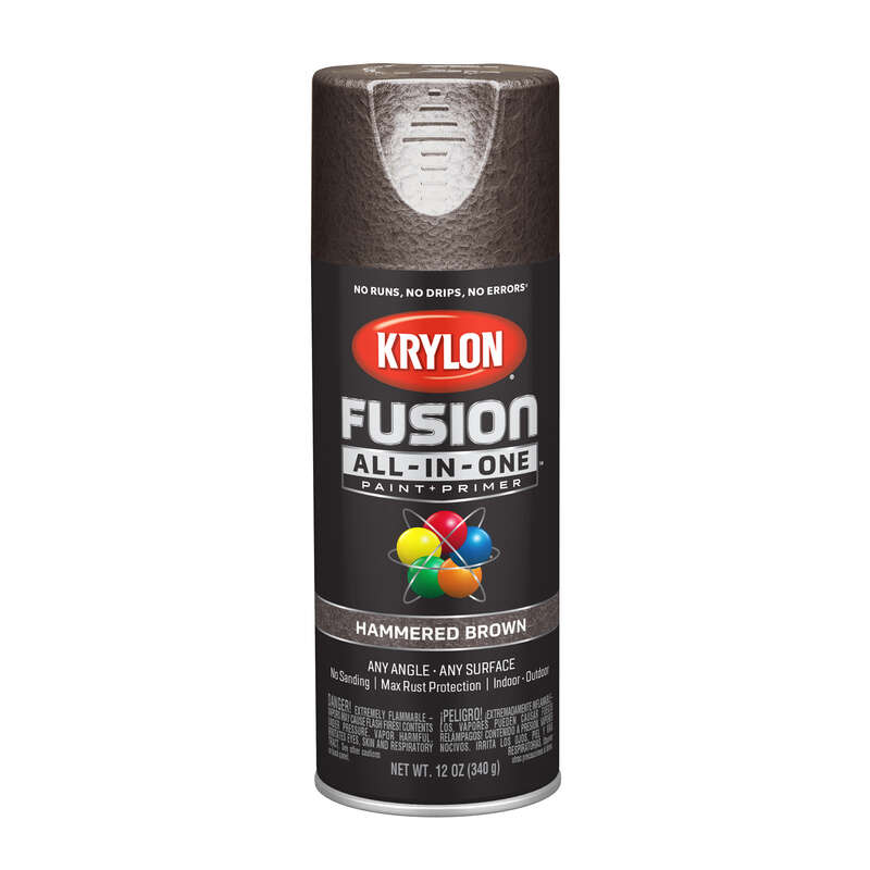 Krylon  Fusion All-In-One  Hammered  Brown  Paint + Primer Spray Paint  12 oz.
