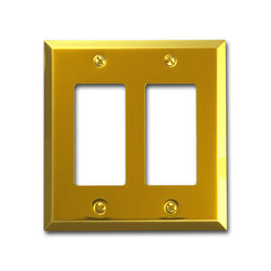 Amerelle  Century  Polished Brass  2 gang Stamped Steel  Rocker  Wall Plate  1 pk