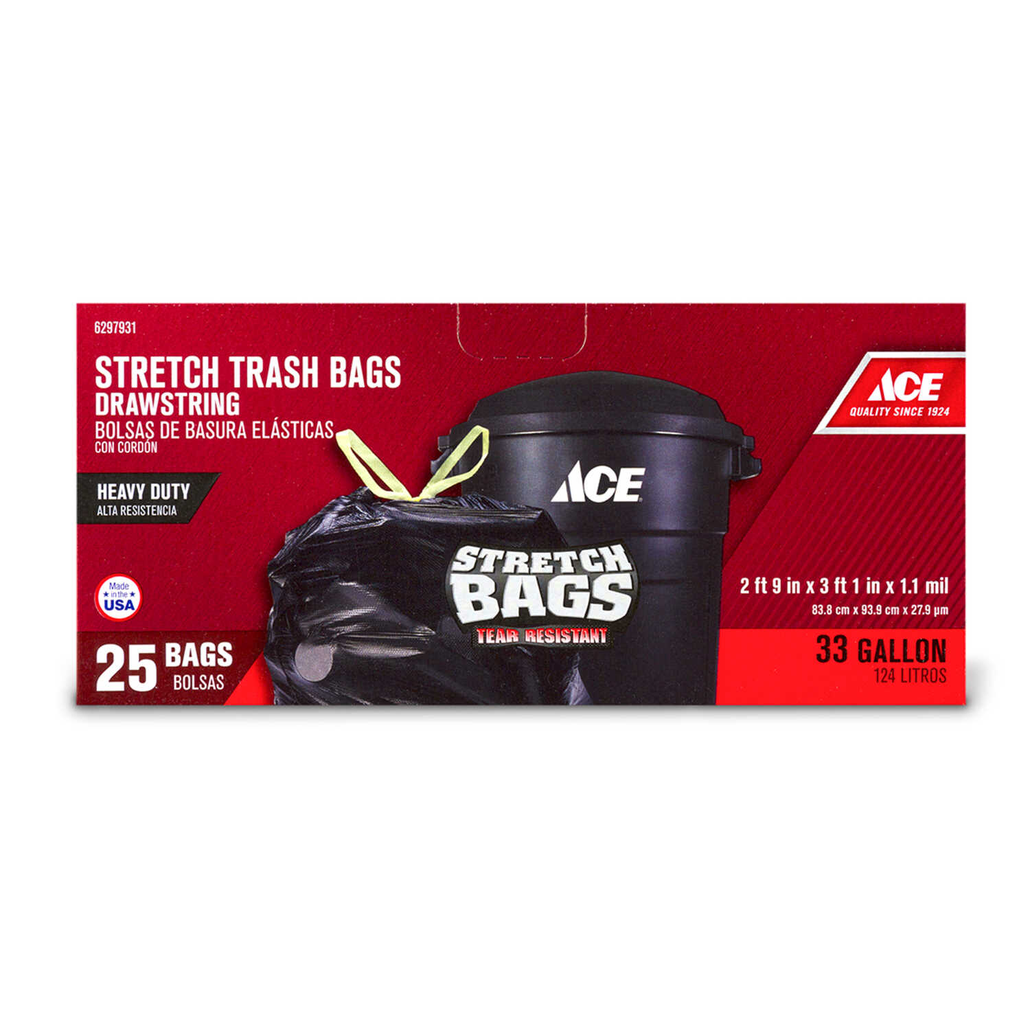 Ace  33 gal. Trash Bags  Drawstring  25 pk