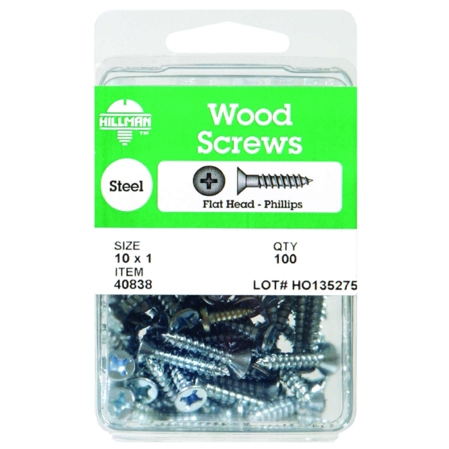 Hillman  No. 10   x 1-1/4 in. L Phillips  Zinc-Plated  Wood Screws  75 pk