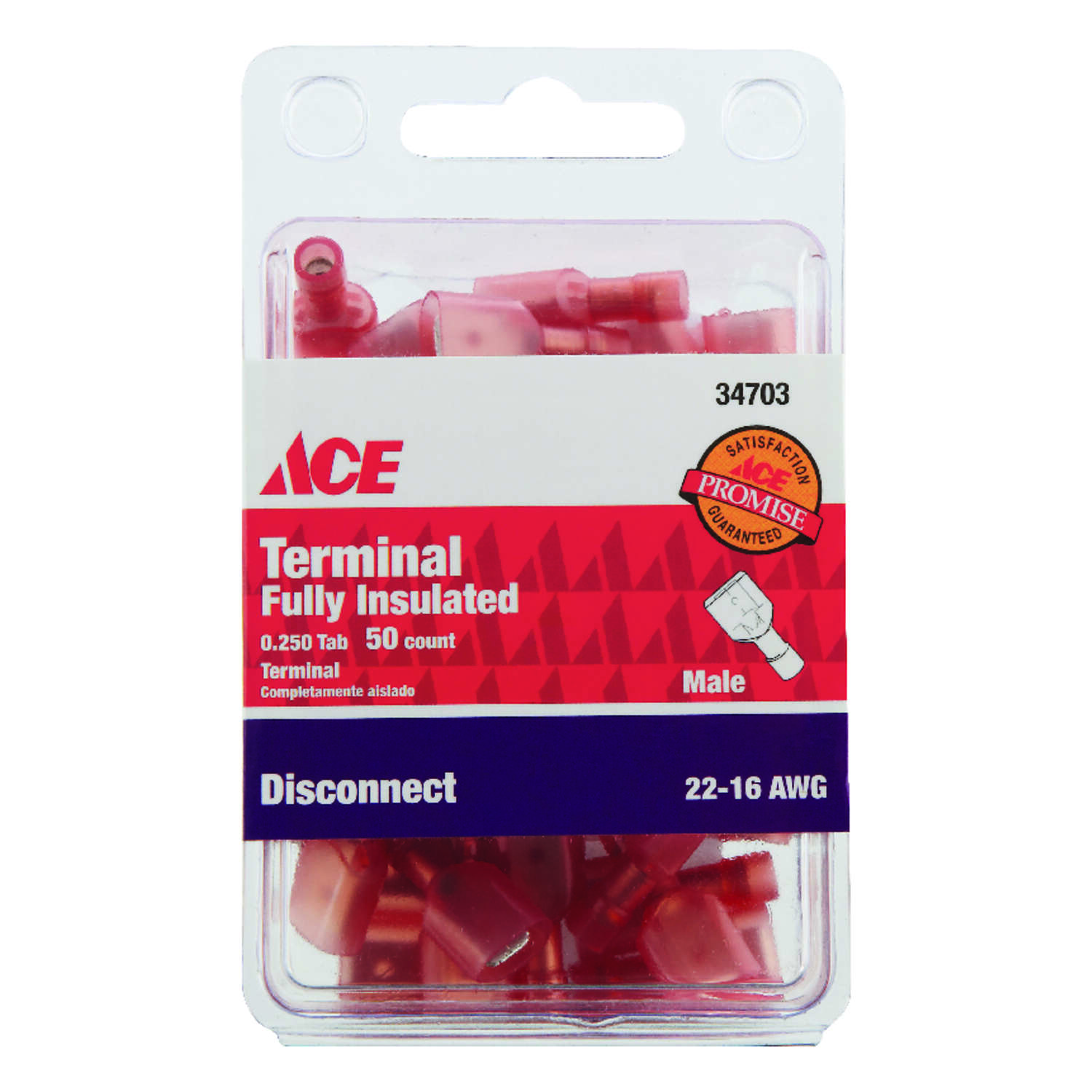 Ace Insulated Wire Male Disconnect Red 50 pk