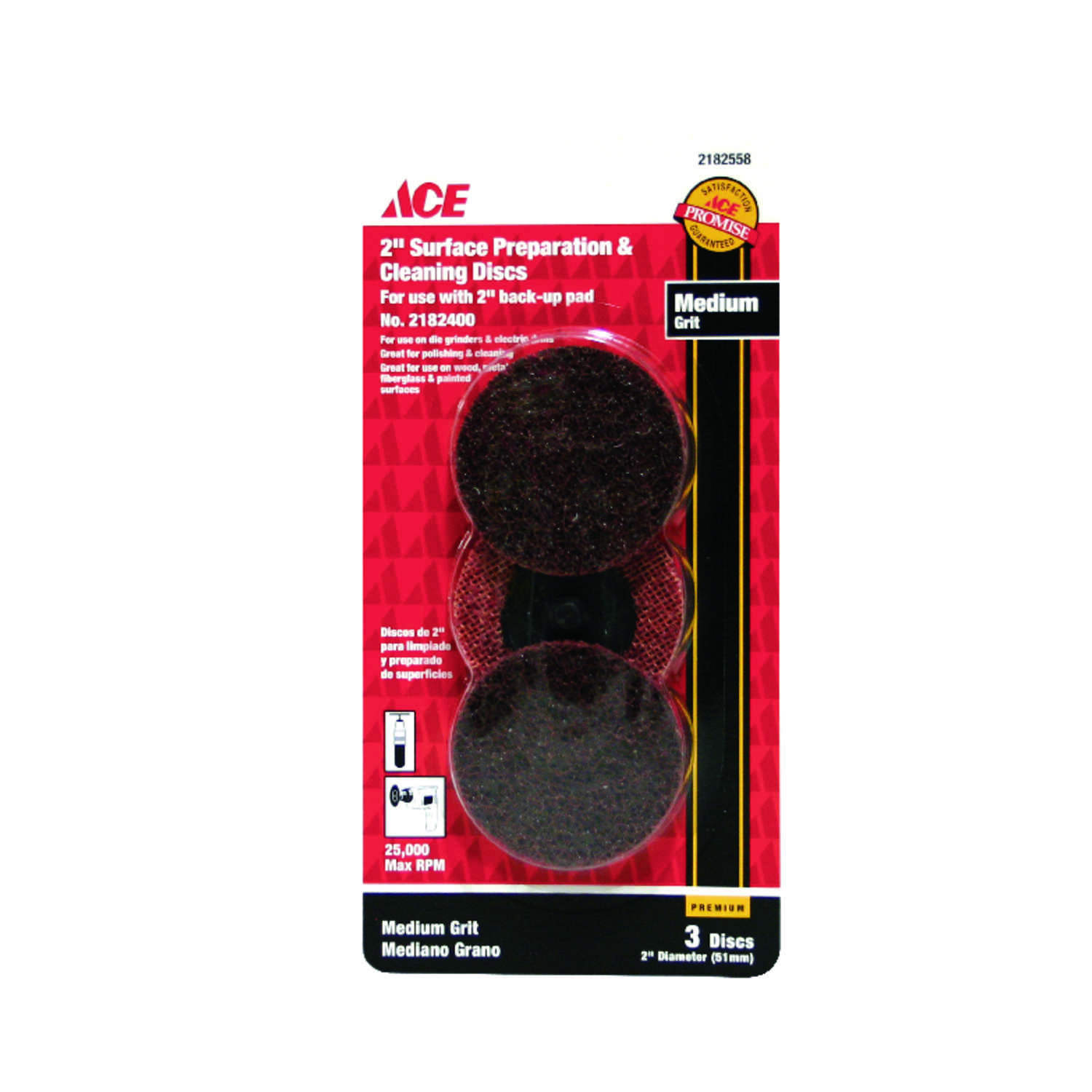 Ace  Aluminum Oxide  Twist and Lock  Surface Conditioning Disc  80 Grit Medium  3 pk 2 in.