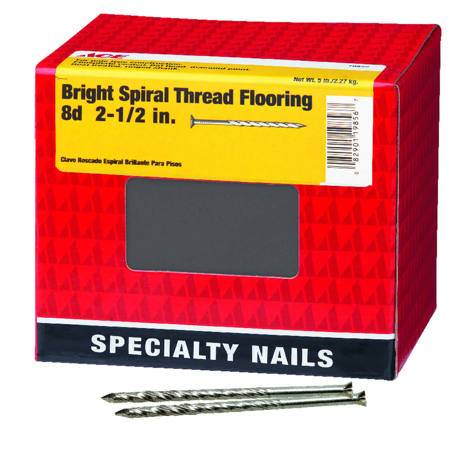 Ace  8D  2-1/2 in. L Flooring  Bright  Nail  Screw Shank  Countersunk  5 lb.
