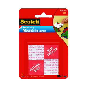 Scotch  1 in. W x 1 in in. L Mounting Squares  White