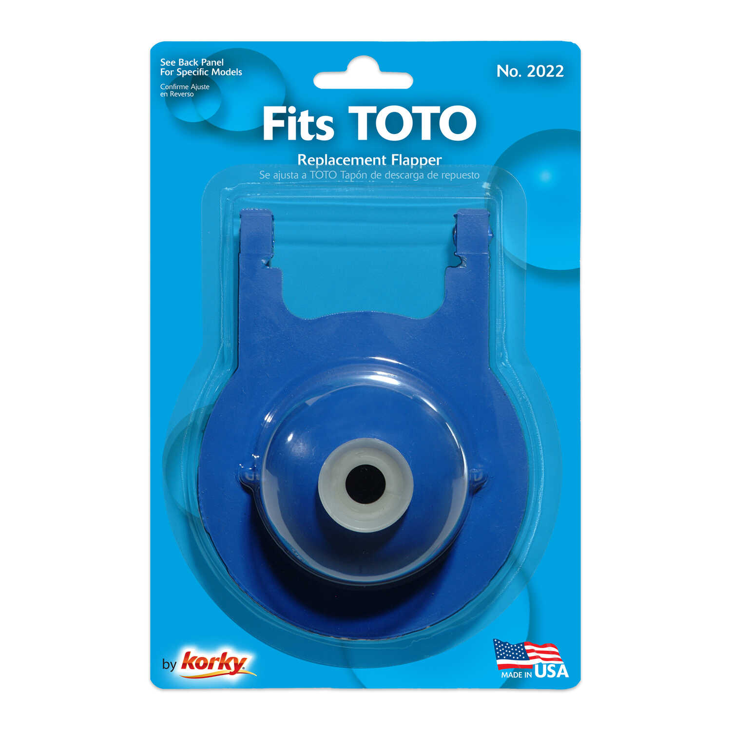 Korky  Fits TOTO 3 inch Blue Flapper  Flapper