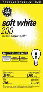 GE Lighting  200 watts A21  Incandescent Bulb  3910 lumens Soft White  A-Line  1 pk