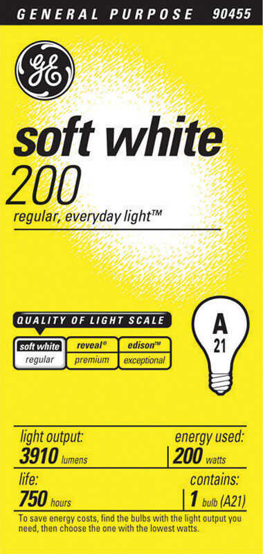 GE  200 watts A21  Incandescent Bulb  3910 lumens Soft White  A-Line  1 pk