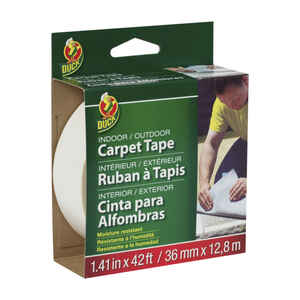 Duck  1.41 in. W x 42 ft. L Polyester  Indoor and Outdoor  Carpet Tape