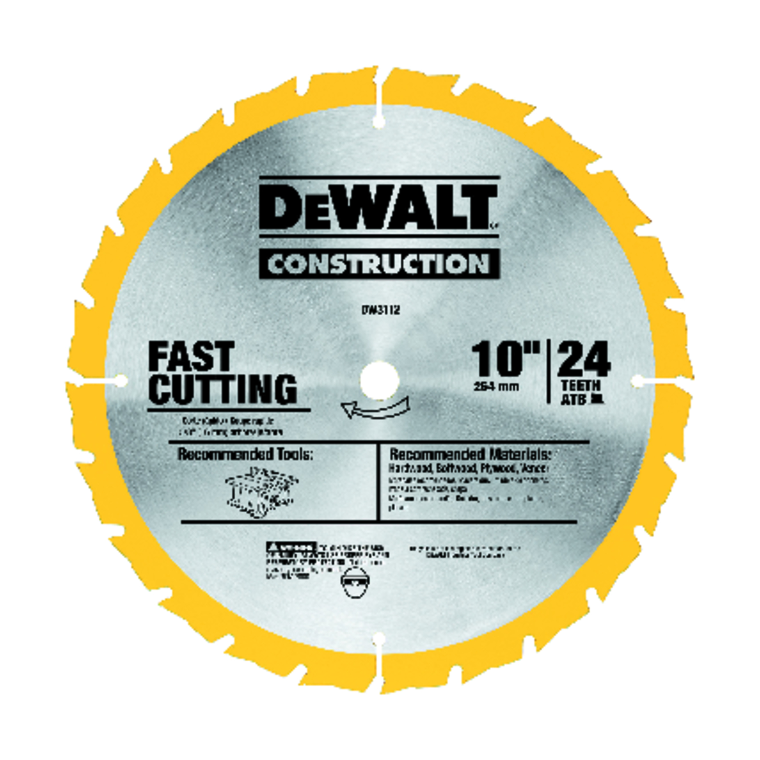 Dewalt 0069 in 10 in construction circular saw blade 58 in 1 pk construction circular saw blade 58 in greentooth Choice Image