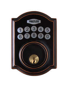 Faultless  Aged Bronze  Metal  Electronic Deadbolt  N/A