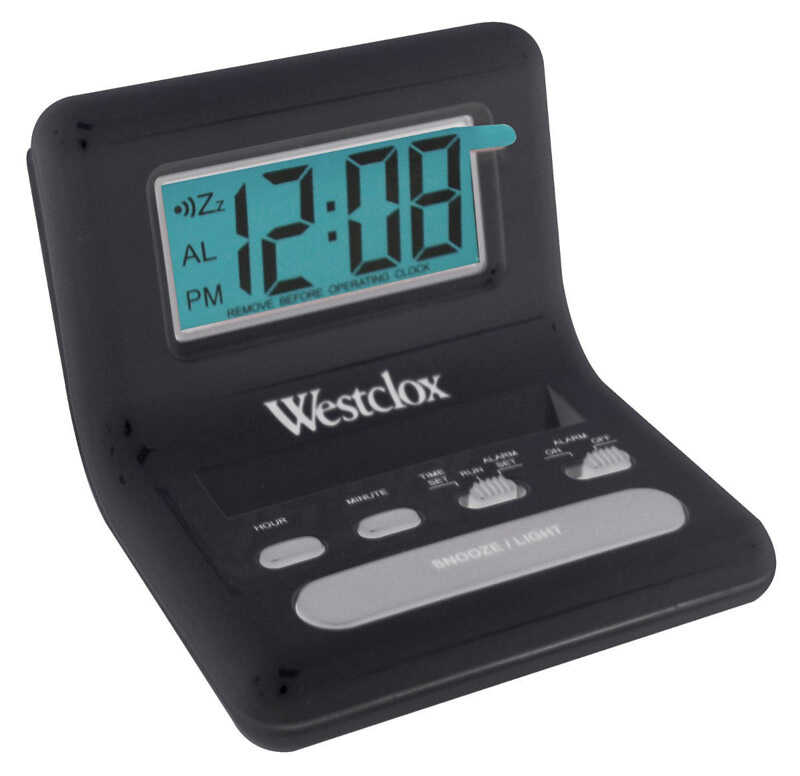 Westclox  Black  Travel Alarm Clock  0.8 in. Digital