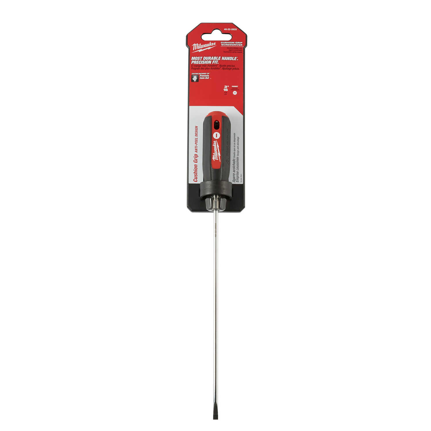 Milwaukee  3/16 in.  x 8 in. L Slotted  Cushion Grip  Screwdriver  1 pc.