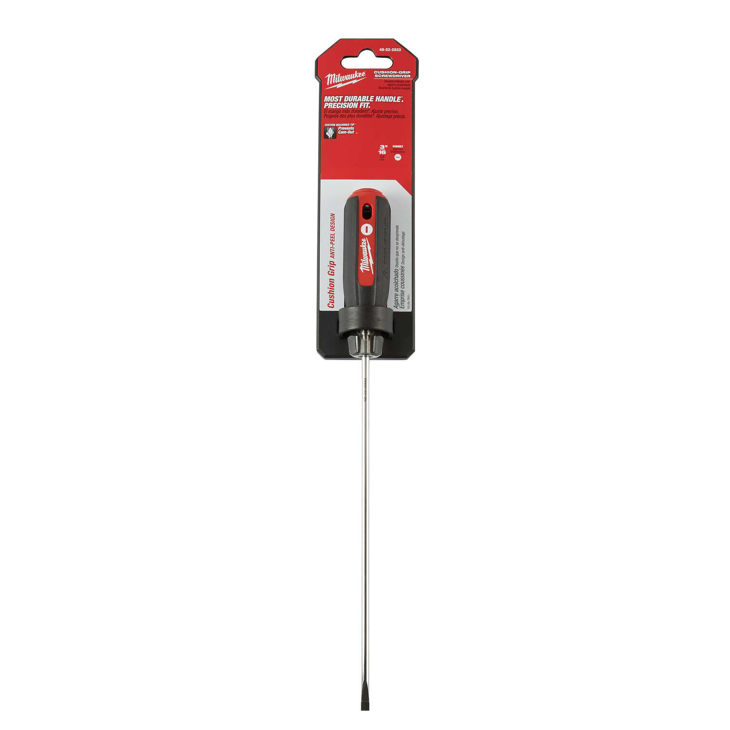 Milwaukee  8 in. Slotted Cabinet  3/16 in. Screwdriver  Chrome-Plated Steel  Red  1 pc. Cushion Grip