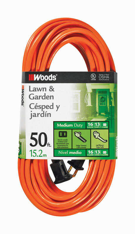 Woods  Outdoor  50 ft. L Orange  Extension Cord  16/2