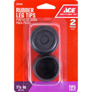 Ace  Rubber  Leg Tip  Black  Round  1-1/2 in. W 2 pk