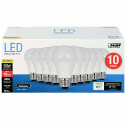 FEIT Electric  A19  E26 (Medium)  LED Bulb  Daylight  60 Watt Equivalence 10 pk
