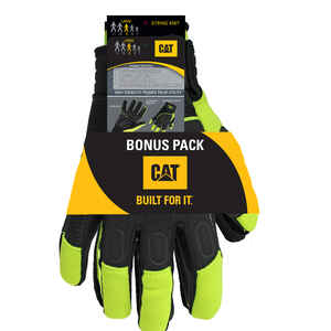 CAT  Men's  Indoor/Outdoor  Synthetic Leather  Mechanic�s Glove  High-Vis Green  L  2 pair
