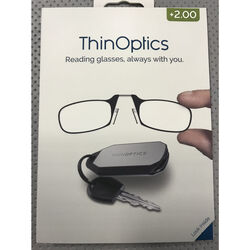 ThinOptics Always With You Black Reading Glasses w/Keychain Case +2.00