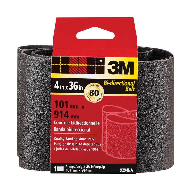 3M  36 inch in. L x 4 in. W Aluminum Oxide  Sanding Belt  80 Grit 1 pc. Medium