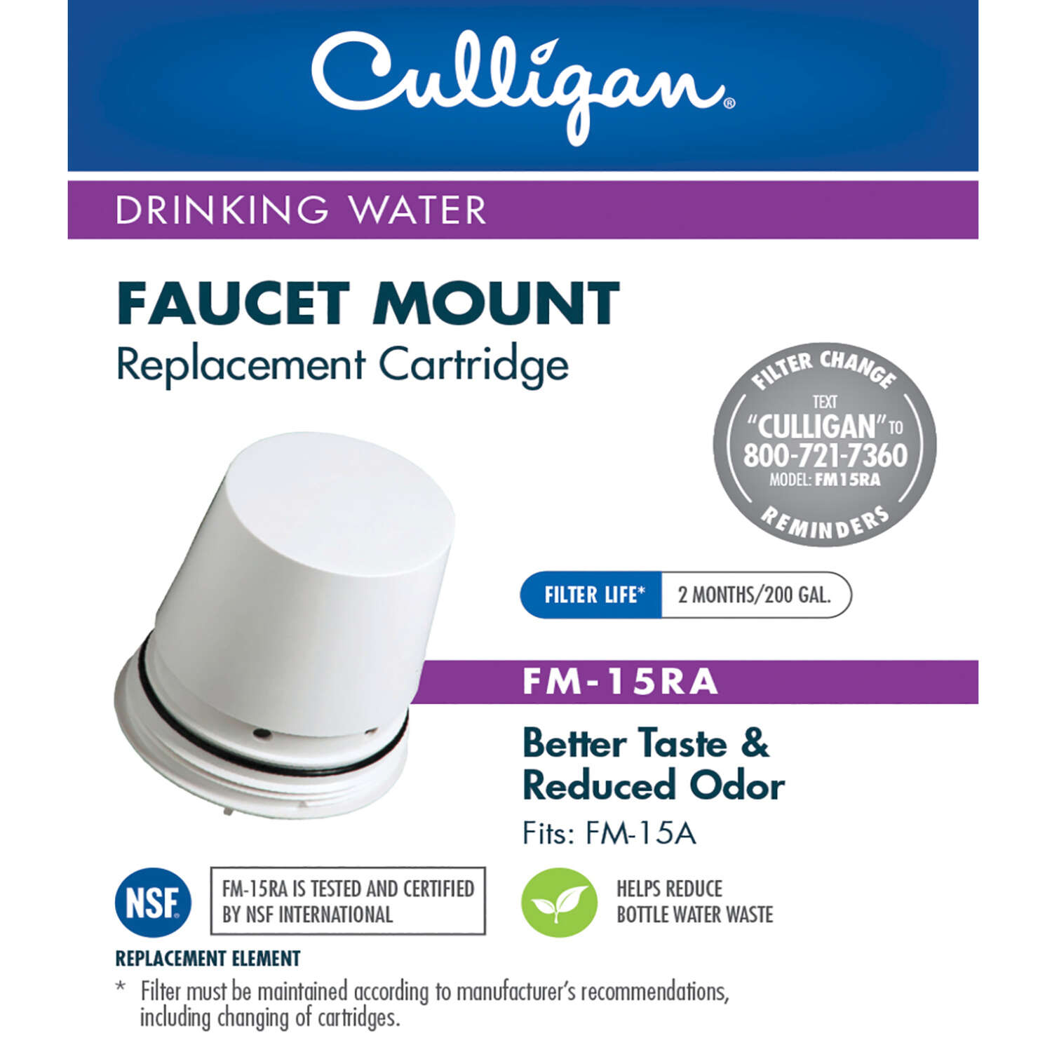 Culligan  Faucet Mount  Replacement Faucet Filter  For Culligan FM-15A