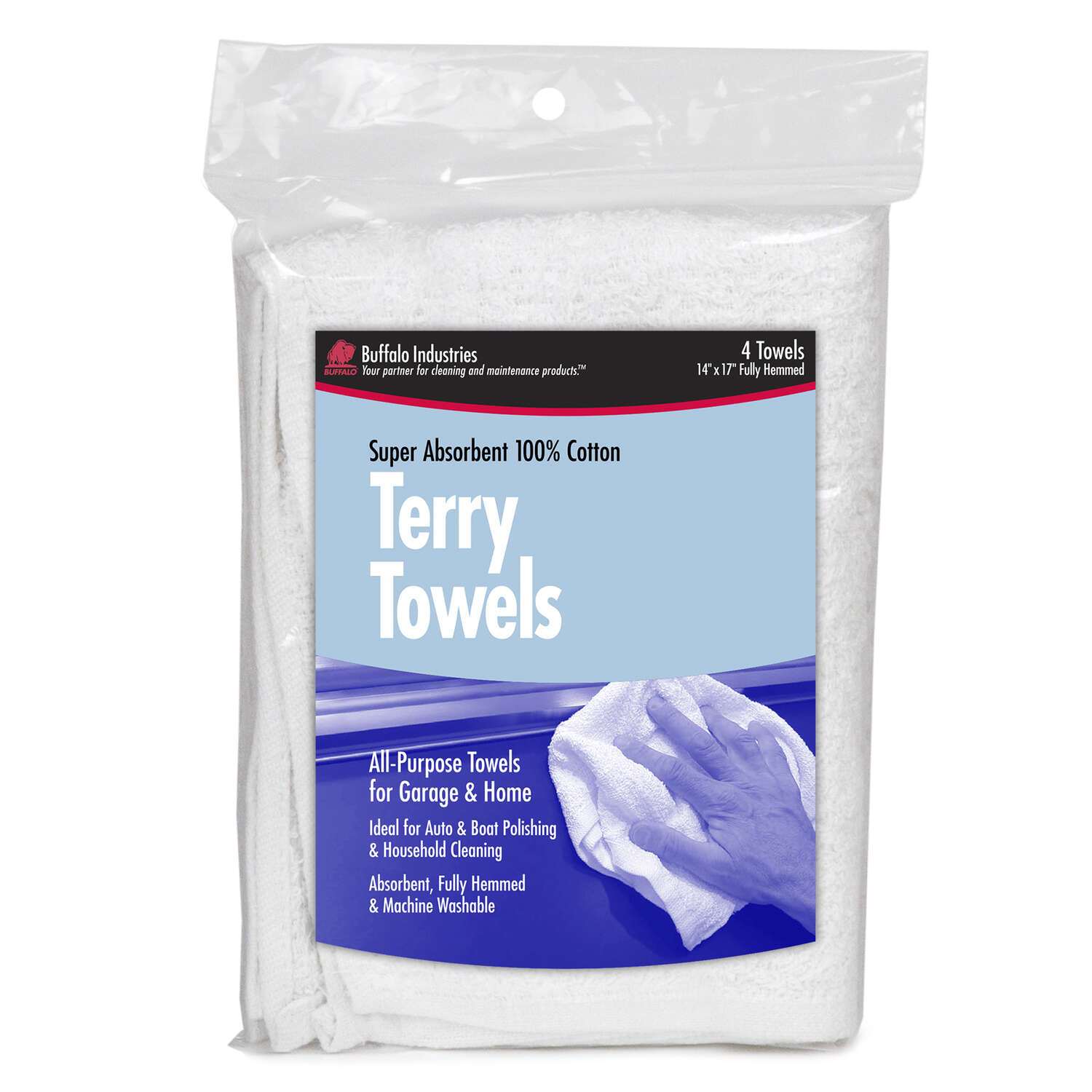 Buffalo  Cotton  Terry Towels  14 in. W x 17 in. L 4 pk