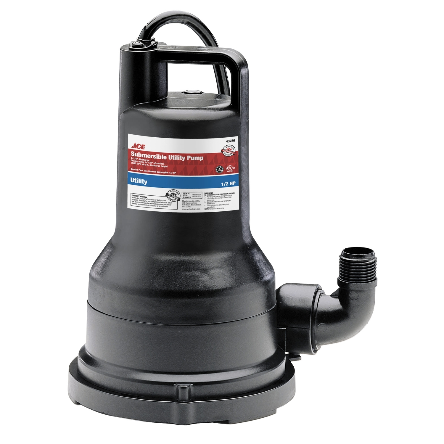 Ace  Wayne  Thermoplastic  Utility Pump  1/2 hp 2600 gph 120 volts
