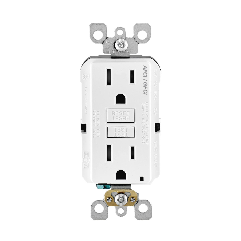 Leviton 15 amps 125 volt White AFCI/GFCI Dual Function Outlet 5-15R ...