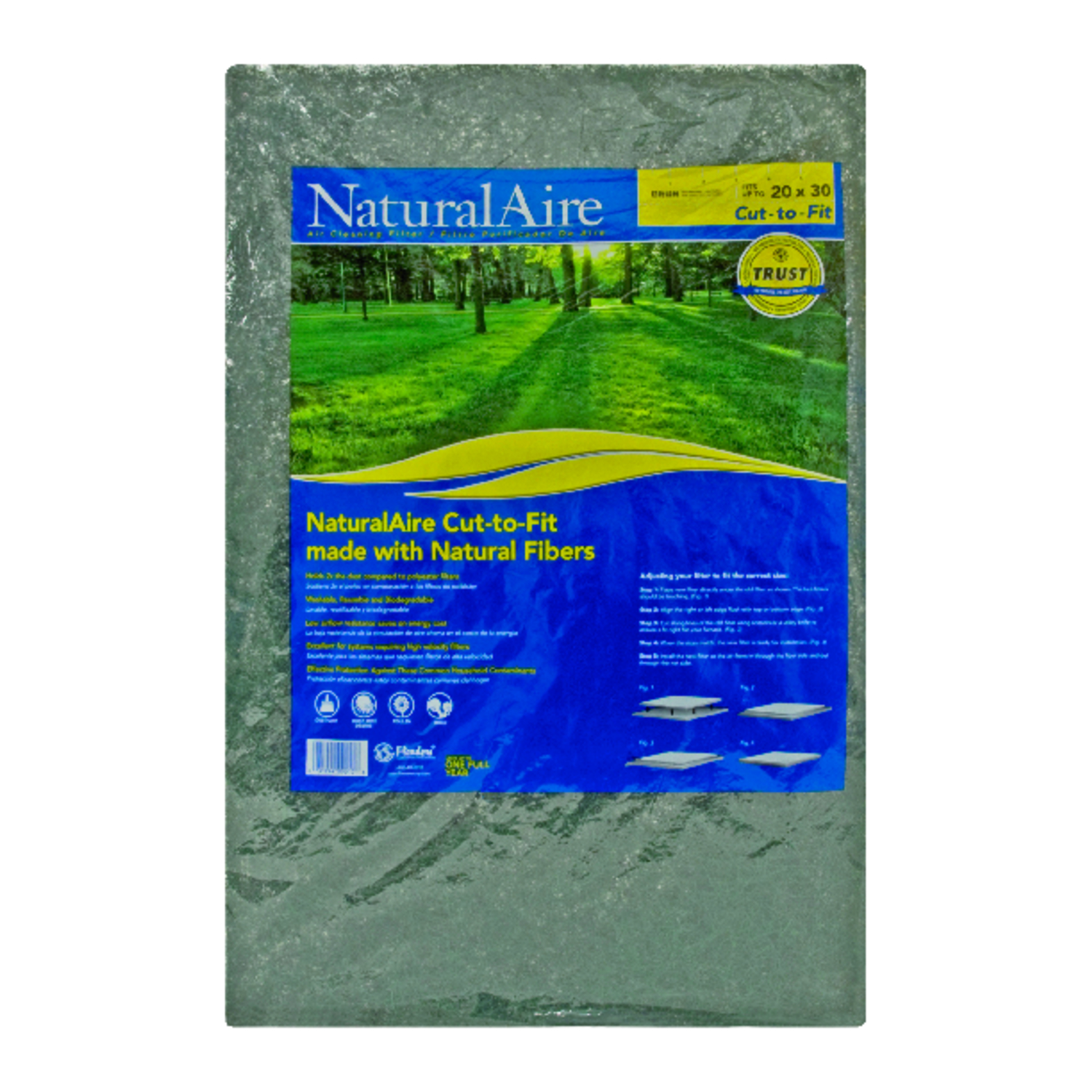 Flanders-Precisionaire  NaturalAire  20 in. W x 1 in. D Natural Hair Matted Fiber  Latex Pad