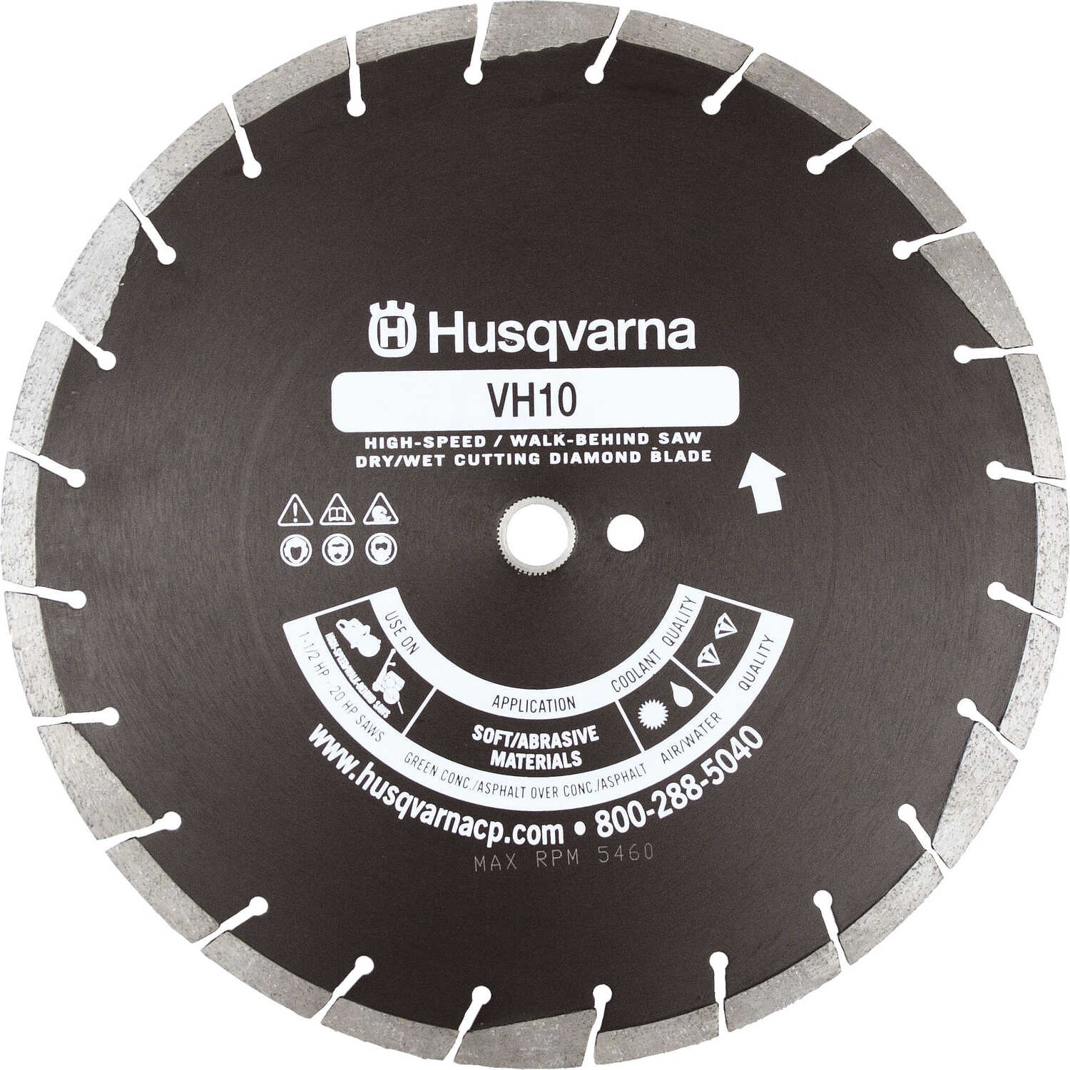 Husqvarna  14  Diamond  VH10  Segmented Rim Saw Blade  1/8 in. thick  1 in.  24 teeth 1 pk
