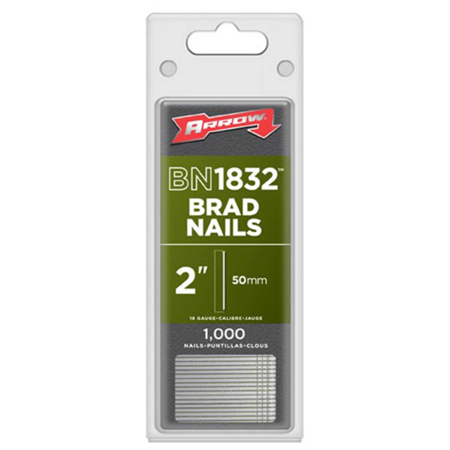 Arrow Fastener  18 Ga. Smooth Shank  Straight Strip  Brad Nails  2 in. L x 0.05 in. Dia. 1,000 pk