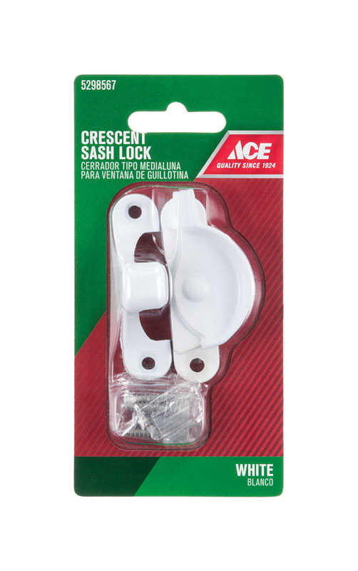 Ace  White  Chrome  Sash Lock  1 pk