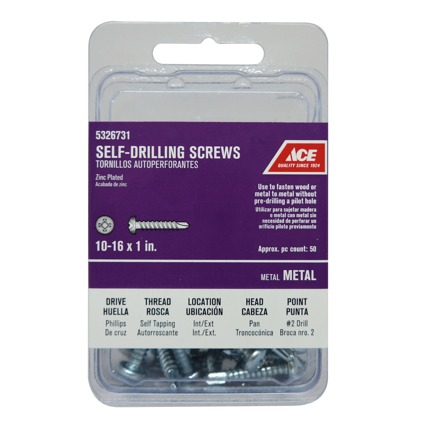 Ace  1 in. L x 10 Sizes  Pan Head Steel  Phillips  50 per box Self- Drilling Screws  Zinc-Plated
