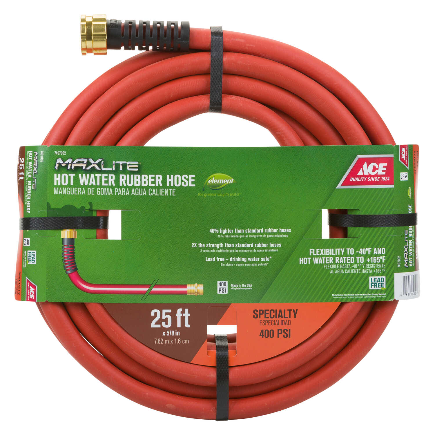 Ace  5/8 in. Dia. Hot Water  Red  Hose