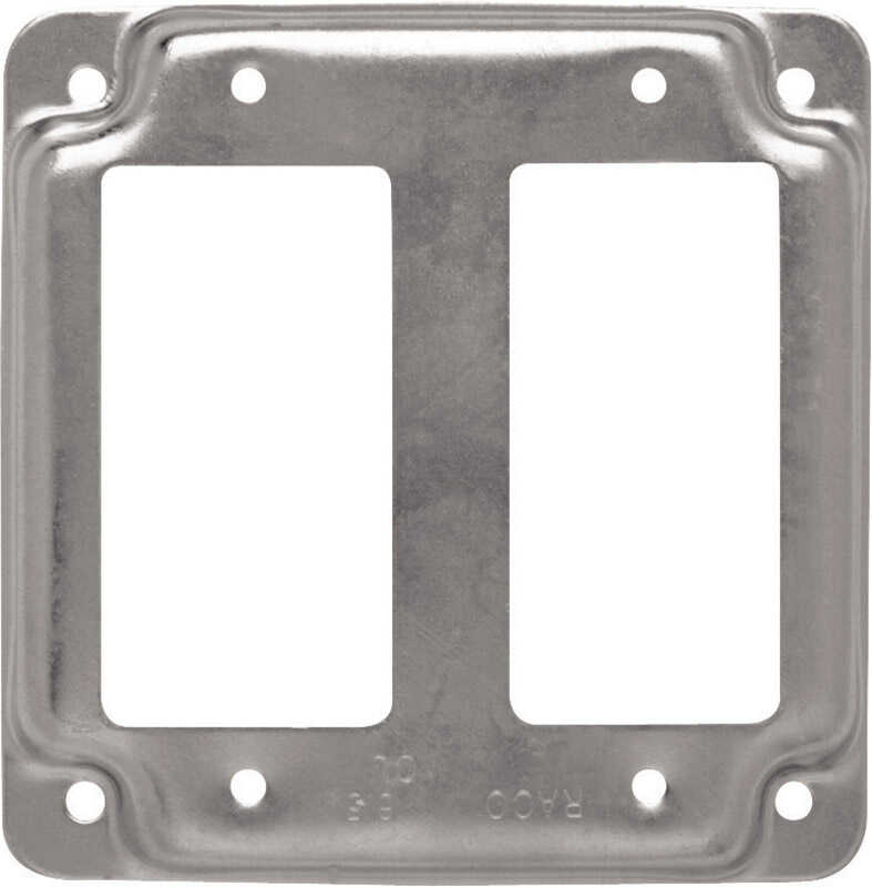 Raco  Square  Steel  2 gang Box Cover  For 2 GFCI Receptacles
