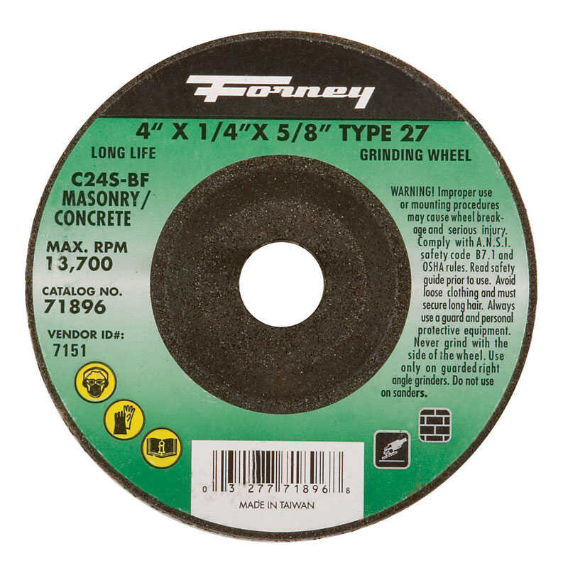 Forney  4 in. Dia. x 1/4 in. thick  x 5/8 in.   Silicon Carbide  Masonry Grinding Wheel  15200 rpm 1