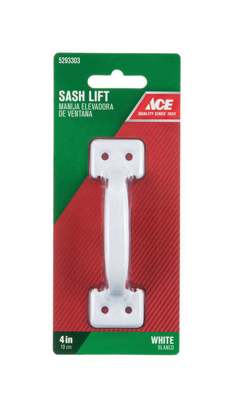 Ace  4 in. L White  White  Steel  Universal  Sash Lift Handle  1 pk