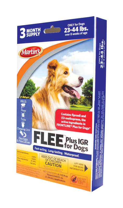Martin's  Flee  Liquid  Dog  Flea and Tick Drops  9.8% Fibronil, 8.8% (S)-methoprene  0.14 oz.