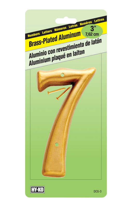 Hy-Ko  Aluminum  Brass Plated  Number  Nail-On  3 in. 7